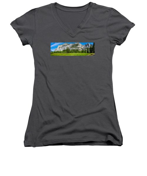 Yosemite Valley Meadow Panorama Women's V-Neck