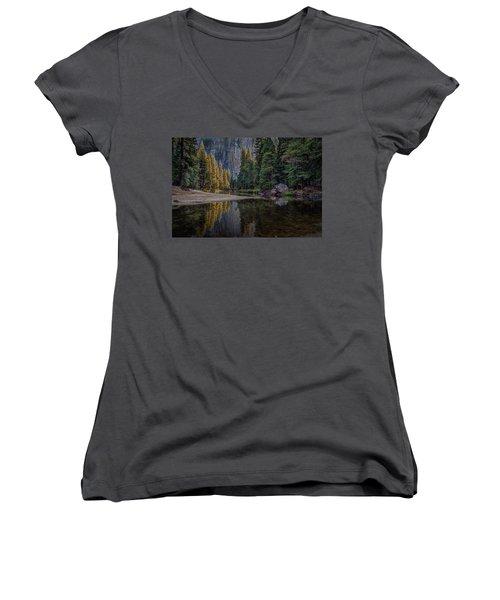 Yosemite Valley Reflections Women's V-Neck (Athletic Fit)