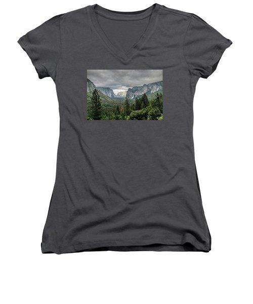 Yosemite View 36 Women's V-Neck T-Shirt (Junior Cut) by Ryan Weddle