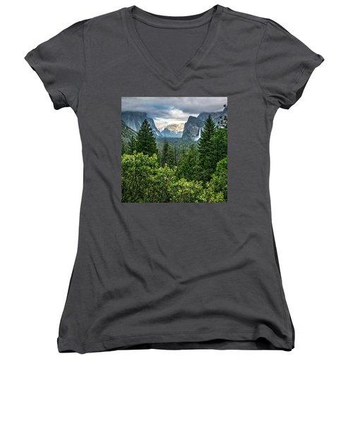 Last Light For Tunnel View Women's V-Neck T-Shirt