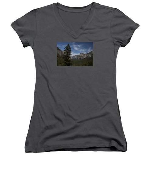 Women's V-Neck T-Shirt (Junior Cut) featuring the photograph Yosemite View by Ivete Basso Photography