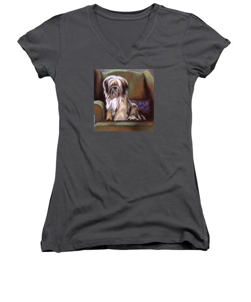 You Are In My Spot Again Women's V-Neck T-Shirt (Junior Cut) by Barbara Keith