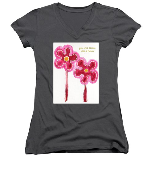 Women's V-Neck T-Shirt (Junior Cut) featuring the drawing You Will Bloom Like A Flower by Frank Tschakert