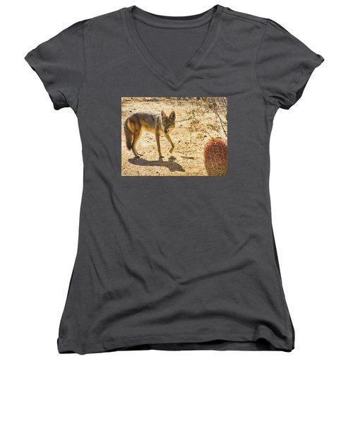 Young Coyote And Cactus Women's V-Neck (Athletic Fit)