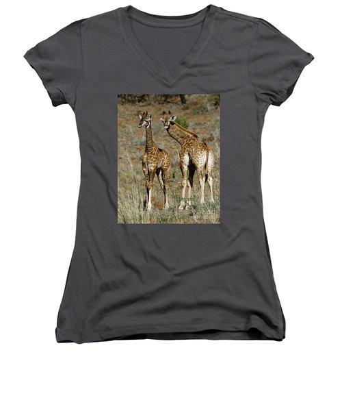 Young Giraffes Women's V-Neck T-Shirt (Junior Cut) by Myrna Bradshaw