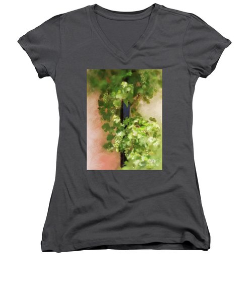 Women's V-Neck T-Shirt featuring the digital art Young Greek Wine by Lois Bryan