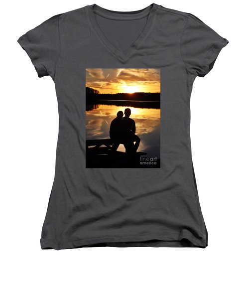 Young Love And Sunsets Women's V-Neck (Athletic Fit)