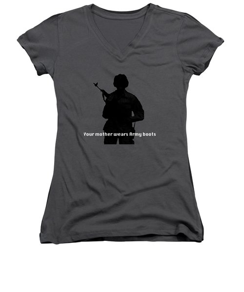 Women's V-Neck T-Shirt (Junior Cut) featuring the photograph Your Mother Wears Army Boots by Melany Sarafis