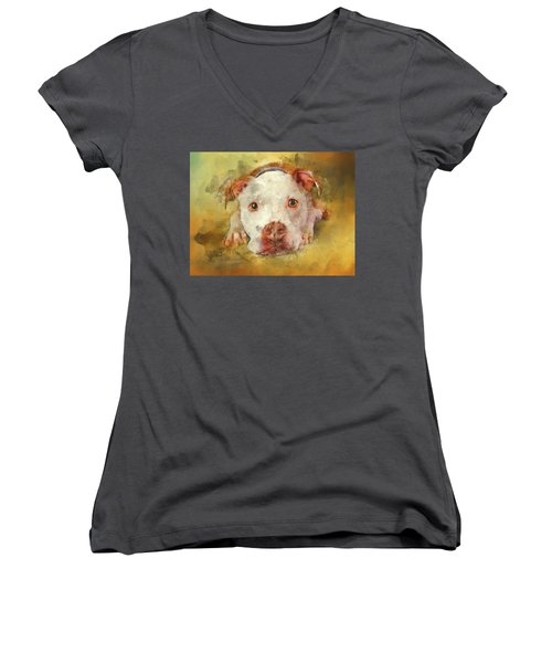 Women's V-Neck T-Shirt featuring the photograph You're My Favorite Human by Bellesouth Studio