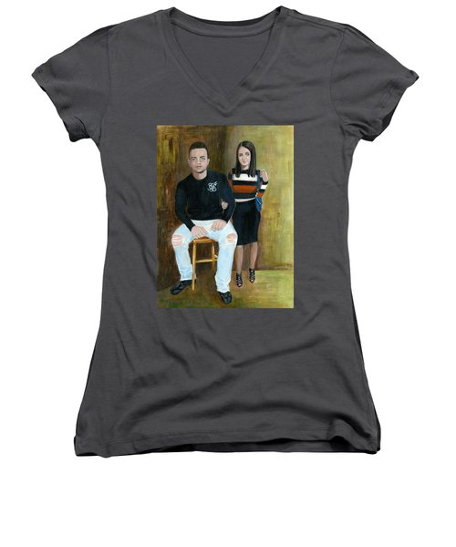 Youth And Beauty - Painting Women's V-Neck T-Shirt (Junior Cut) by Veronica Rickard