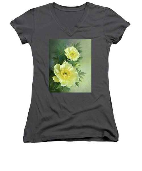 Women's V-Neck T-Shirt (Junior Cut) featuring the digital art Yumi Itoh Peony by Thanh Thuy Nguyen