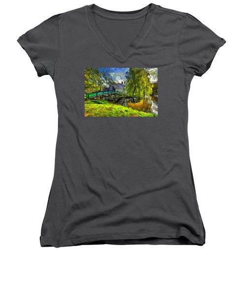 Zaanse Schans Women's V-Neck T-Shirt (Junior Cut) by Eva Lechner