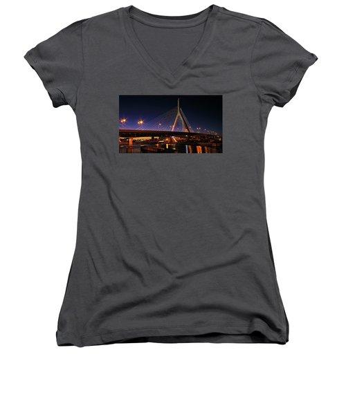 Zakim Bridge Boston Massachusetts At Night Women's V-Neck T-Shirt (Junior Cut) by Betty Denise