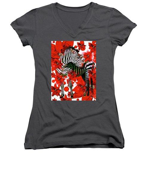 Zebra And Flowers Women's V-Neck T-Shirt