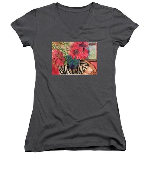 Zebra And Red Sunflowers  Women's V-Neck T-Shirt