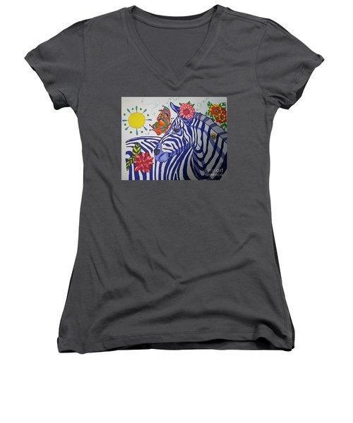 Zebra And Things Women's V-Neck T-Shirt