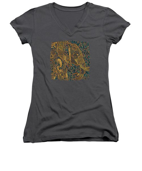 Zentangle Elephant-oil Gold Women's V-Neck
