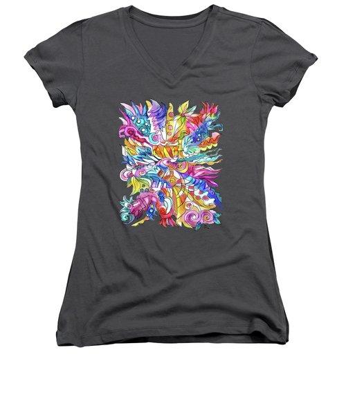 Zentangle-off The Cuff Women's V-Neck T-Shirt