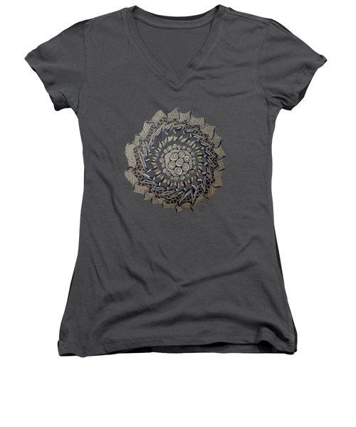 Zentangle Shield  Women's V-Neck T-Shirt (Junior Cut) by Joyce Wasser
