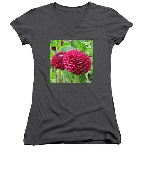 Zinnia Duet Women's V-Neck T-Shirt (Junior Cut) by Karen J Shine