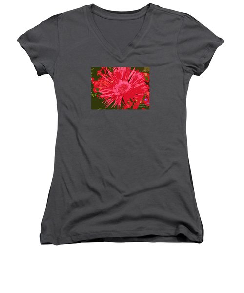 Women's V-Neck T-Shirt (Junior Cut) featuring the photograph Zinnia Party by Jeanette French