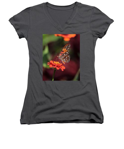 Zinnia With Butterfly 2668 Women's V-Neck