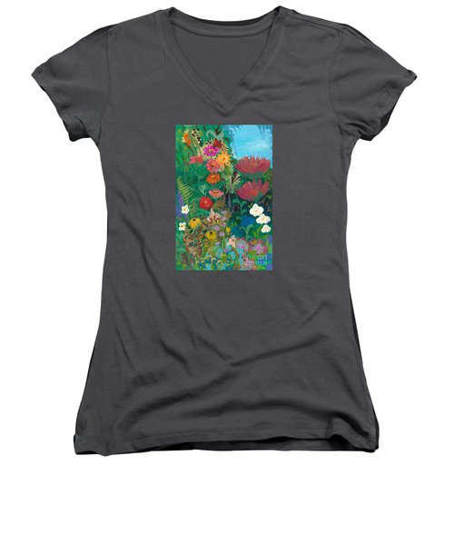 Zinnias Garden Women's V-Neck T-Shirt