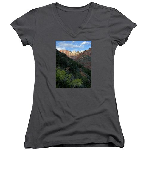 Zion National Park 20 Women's V-Neck T-Shirt (Junior Cut) by Jeff Brunton