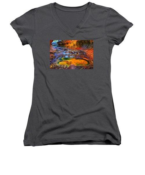 Zion Subway Falls Women's V-Neck T-Shirt (Junior Cut) by Greg Norrell
