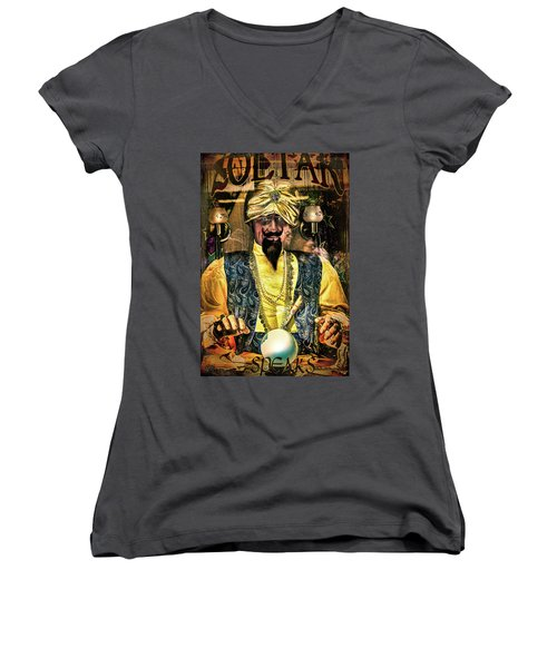 Women's V-Neck T-Shirt featuring the photograph Zoltar by Chris Lord