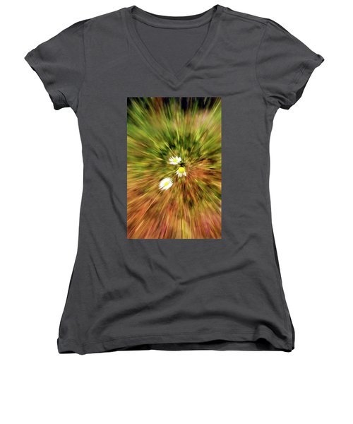 Women's V-Neck T-Shirt (Junior Cut) featuring the digital art Zooming In Or Zooming Out by James Steele