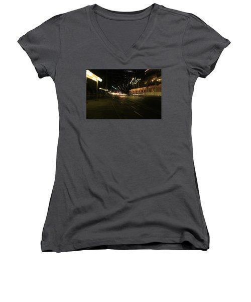Zooming Tel Aviv Road. Women's V-Neck T-Shirt