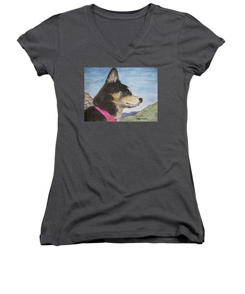 Zuma Women's V-Neck T-Shirt (Junior Cut) by Megan Cohen