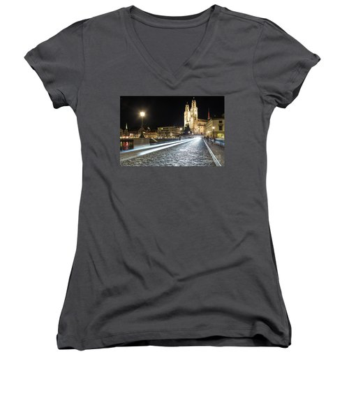 Zurich Night Rush In Old Town Women's V-Neck (Athletic Fit)