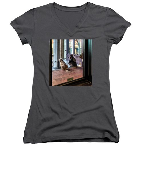 018 - Girl And Dog Women's V-Neck