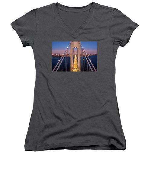 Aerial View Of Verrazzano Narrows Bridge Women's V-Neck
