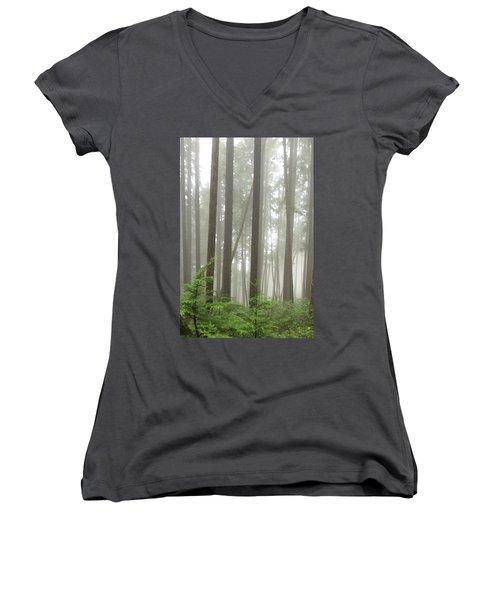 Women's V-Neck featuring the photograph Foggy Forest by Karen Zuk Rosenblatt