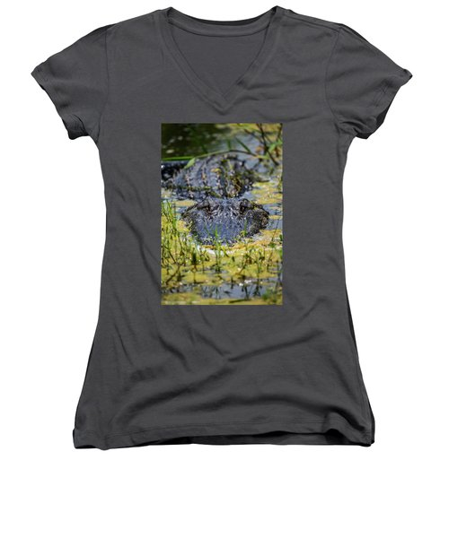 Women's V-Neck featuring the photograph I'm Watching You by Kevin Banker