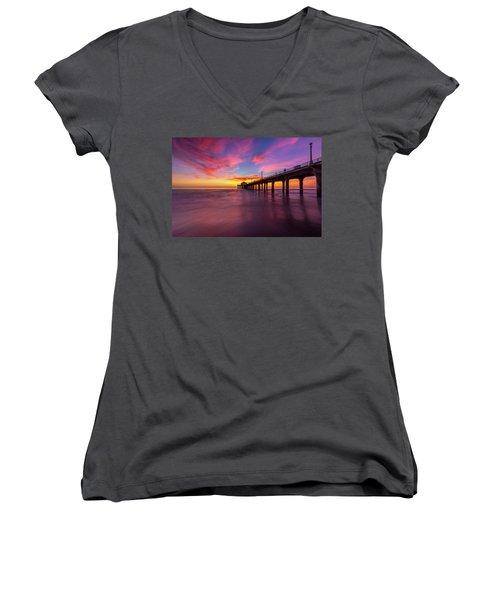 Stunning Sunset At Manhattan Beach Pier Women's V-Neck