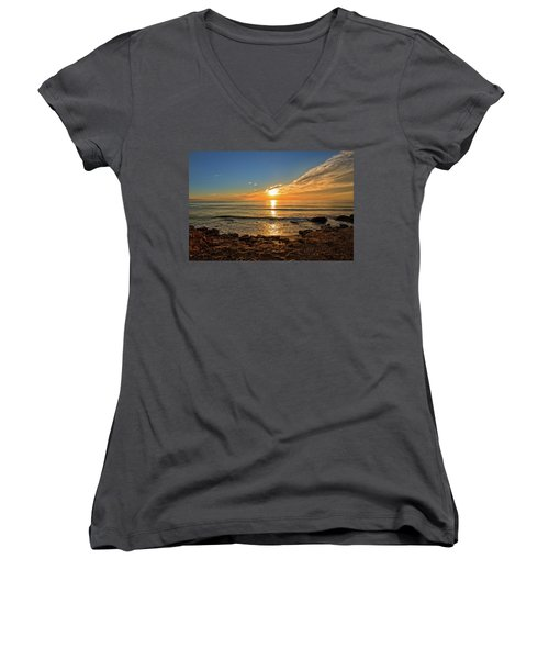 The Calm Sea In A Very Cloudy Sunset Women's V-Neck