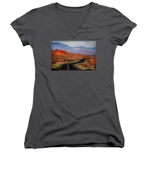Winding Road In Valley Of Fire Women's V-Neck