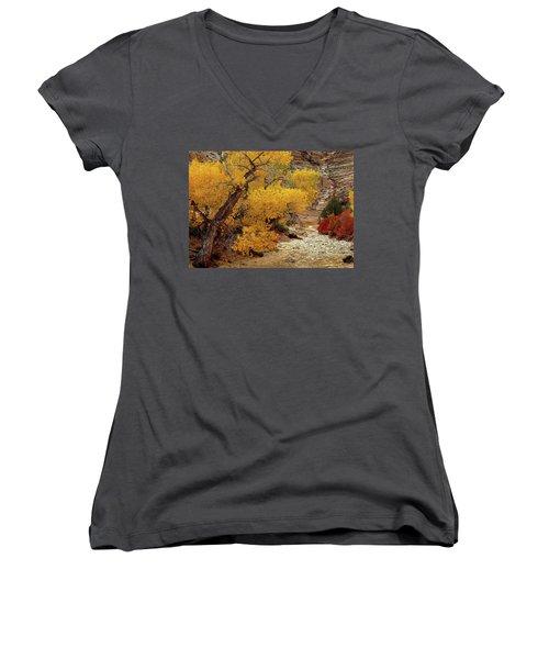 Zion National Park Autumn Women's V-Neck (Athletic Fit)