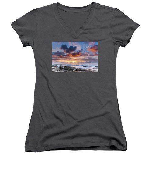 An Atmospheric Sunrise Seascape Women's V-Neck
