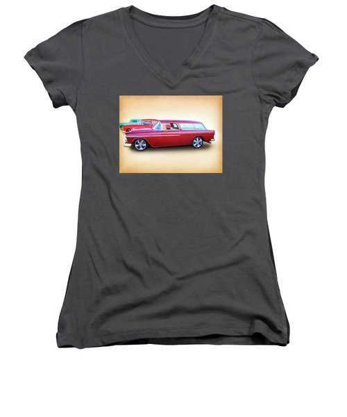 3 - 1955 Chevy's Women's V-Neck