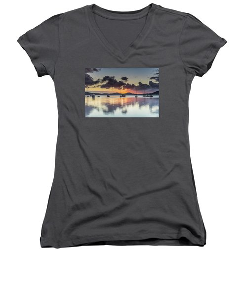 Overcast Morning On The Bay With Boats Women's V-Neck