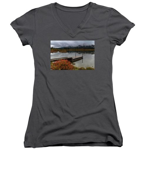 Vermillion Lakes, Banff National Park, Alberta, Canada Women's V-Neck