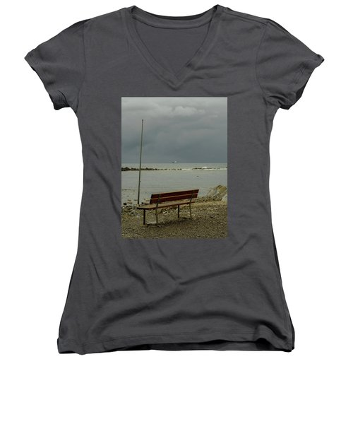 A Bench On Which To Expect, By The Sea Women's V-Neck