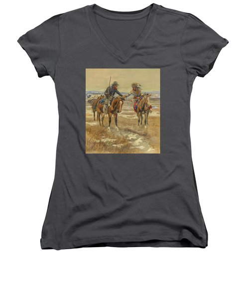 A Doubtful Handshake Women's V-Neck