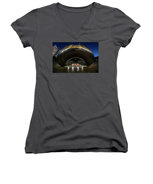A Fisheye Perspective Of Chicago's Bean Women's V-Neck