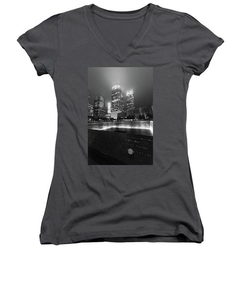 Women's V-Neck featuring the photograph A Rose In The Darkness by Alex Lapidus